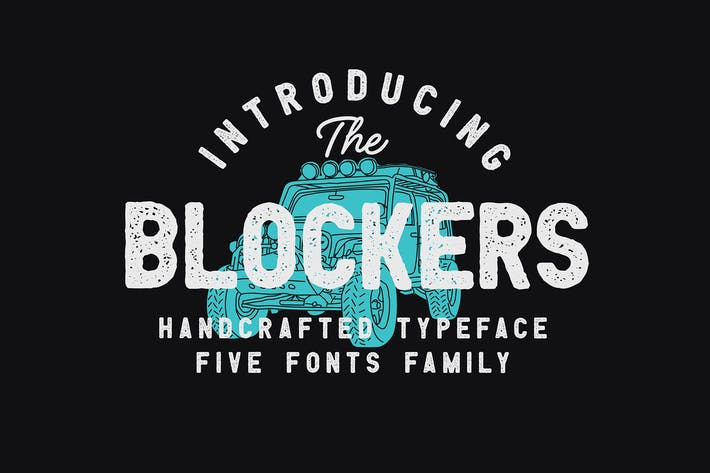 Thumbnail for Blockers 5 Font Family