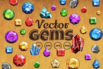 Gems And Diamonds Icons Set