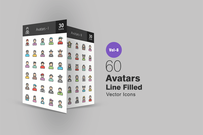 Thumbnail for 60 Avatars Line Filled Icons