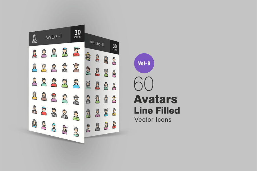 60 Avatars Line Filled Icons