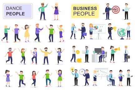 Businessman and Dancing Flat People Characters