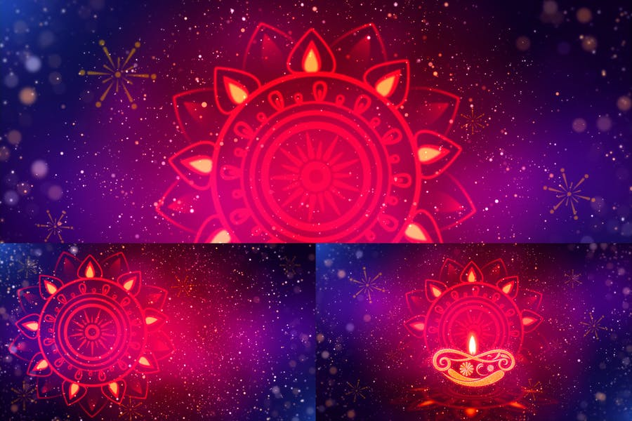 Diwali Rangoli With Particles