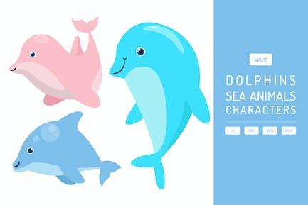 Süße Delfine - Meerestiere Zeichen Vol.12