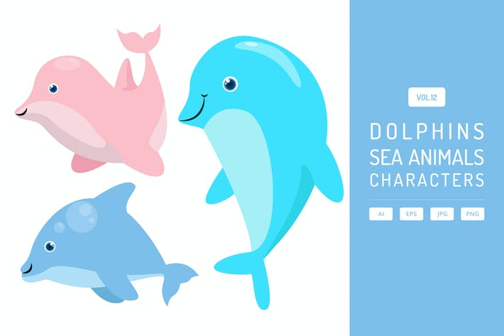 Thumbnail for Cute Dolphins - Sea Animals Characters Vol.12
