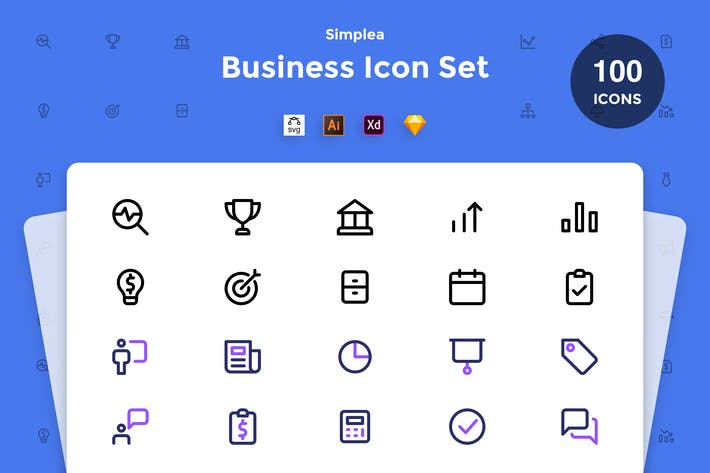 Thumbnail for Business Icon Set - Simplea