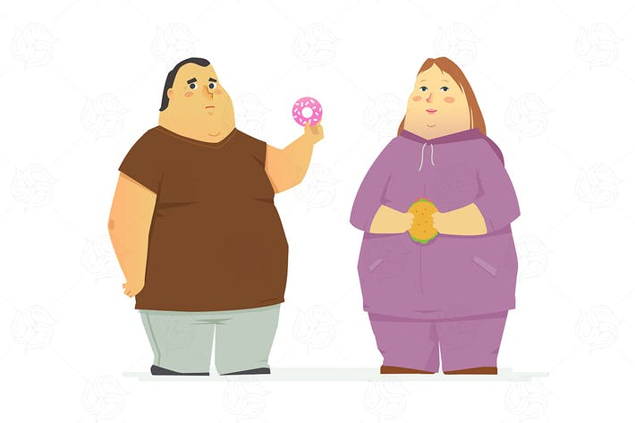 Thumbnail for Plump couple - isolated vector illustration