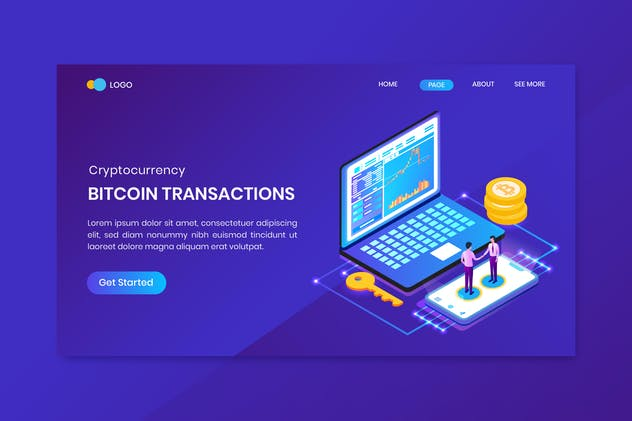 Bitcoin Transactions Cryptocurrency Landing Page