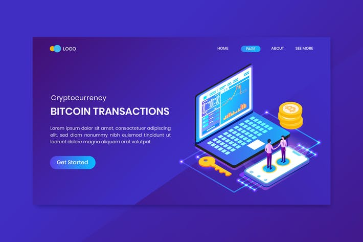 Thumbnail for Bitcoin Transactions Cryptocurrency Landing Page