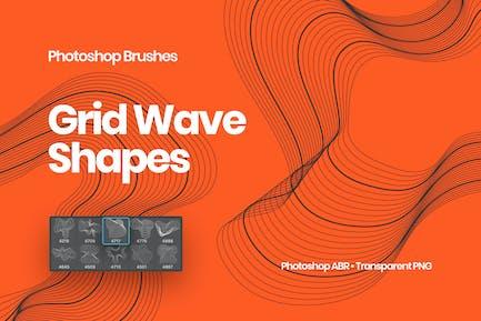 Grid Wave Shapes Photoshop Brushes