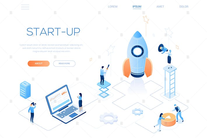 Thumbnail for Startup - Banner web isométrico colorido