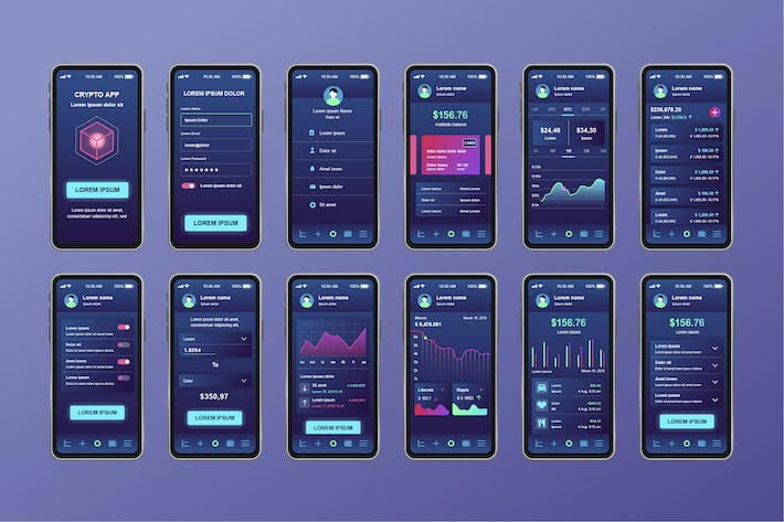 Thumbnail for Cryptocurrency Mining Unique Mobile App UI Kit