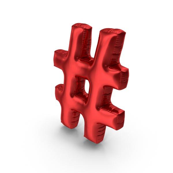 Thumbnail for Foil Balloon Hashtag Red