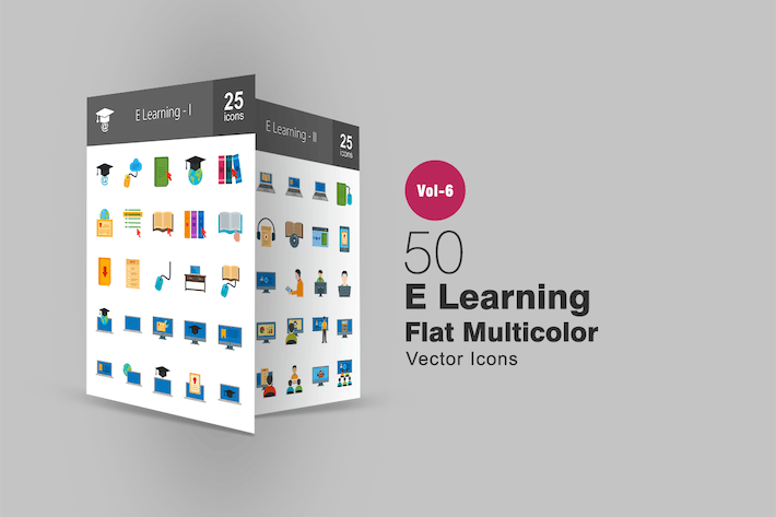 Thumbnail for 50 E Learning Flat Multicolor Icons