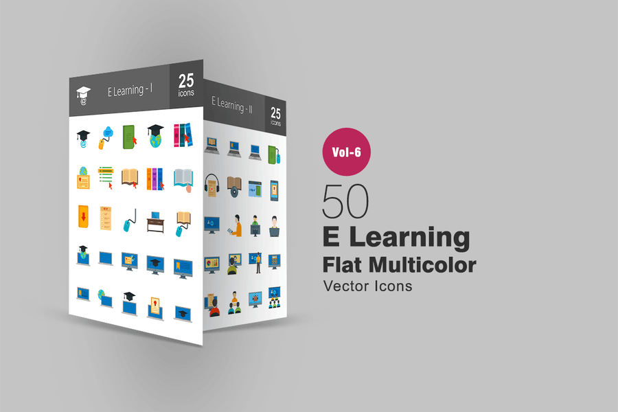 50 E Learning Flat Multicolor Icons