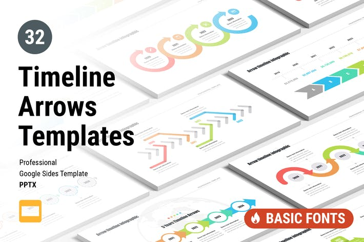Thumbnail for Timeline Arrows Templates for Google Slides