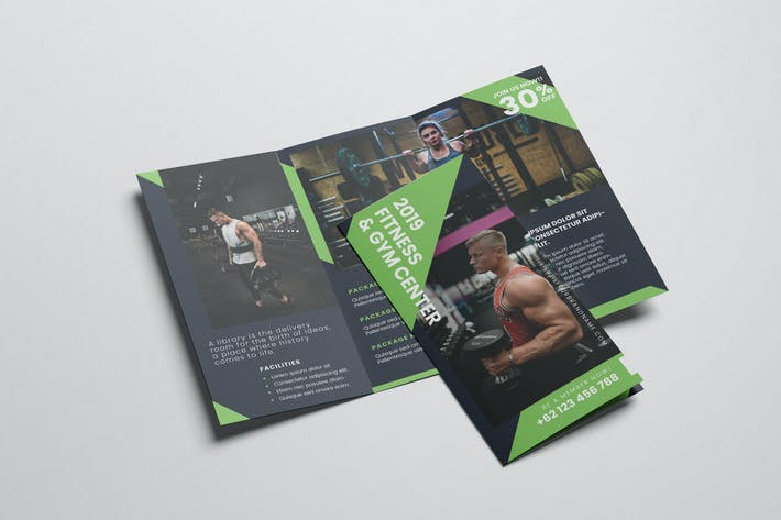 Thumbnail for Gym and Fitness AI and PSD Trifold Brochure