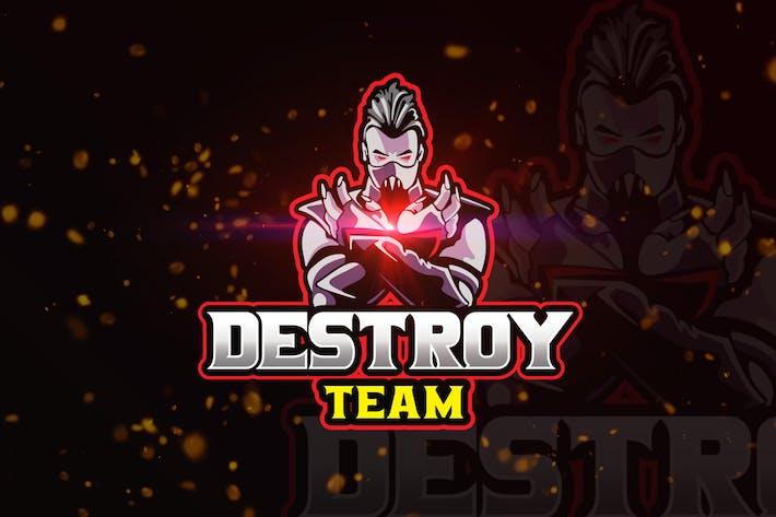 Thumbnail for Destroy Mascot & eSports Gaming Logo