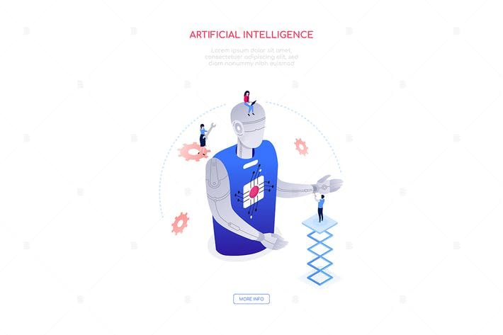 Thumbnail for Artificial intelligence - isometric web banner