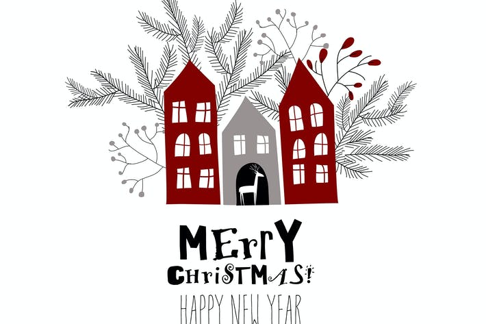 Thumbnail for Vector Christmas card with red houses and fir bran