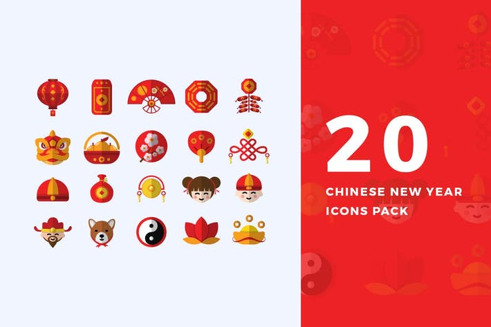 Thumbnail for 20 Flat Chinese New Year Icons Pack