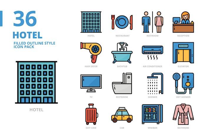 Jeu d'icônes de style contour rempli d'hôtel