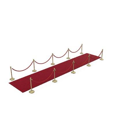 Goldseil Barrieren mit Rotem Teppich Läufer