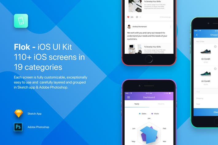 Thumbnail for Flok - iOS UI Kit Template