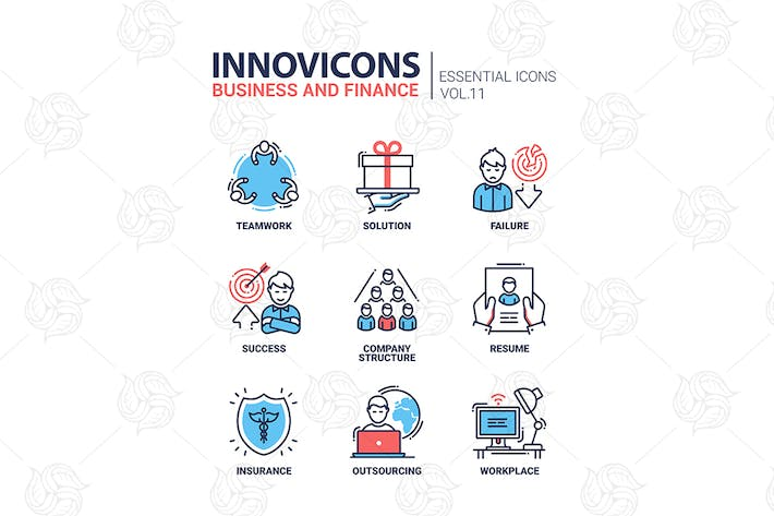 Thumbnail for Business and finance line design icons set