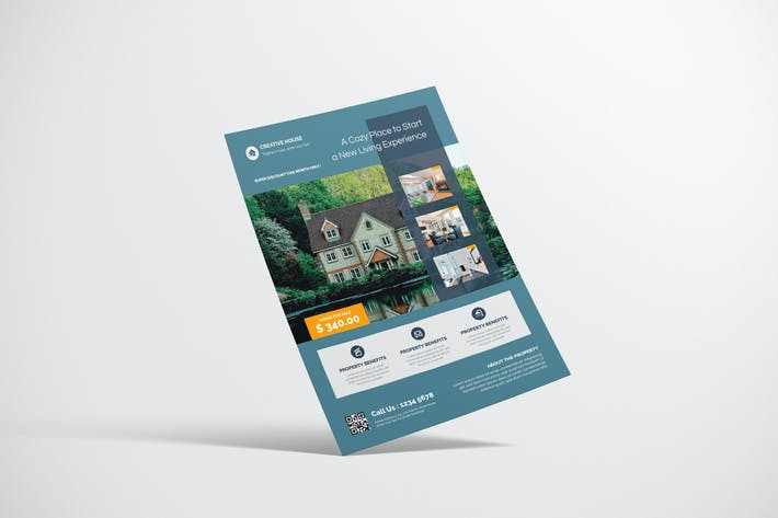 Thumbnail for Property Flyer Desain With Green Accent