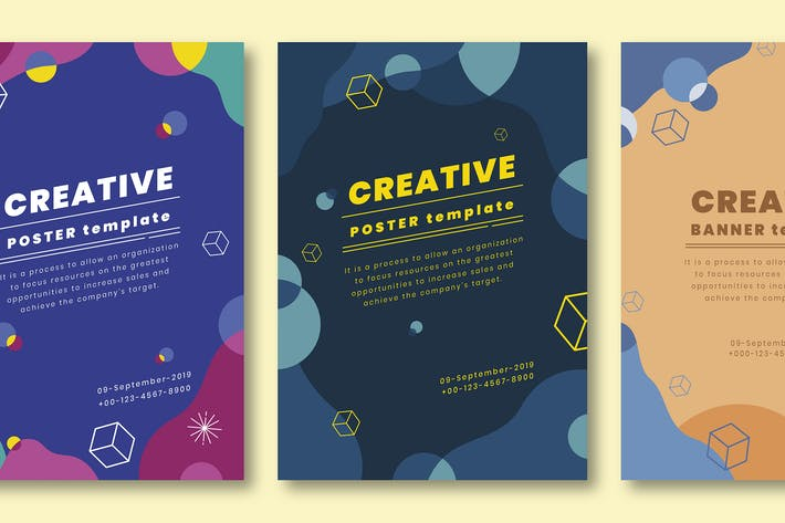 2 910 Poster Print Templates Compatible With Adobe Illustrator