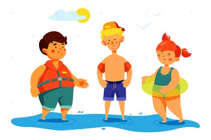 Children on The Beach - Colorful Illustration