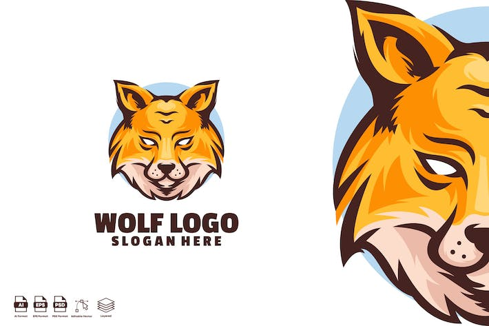 Thumbnail for Wolf logo template