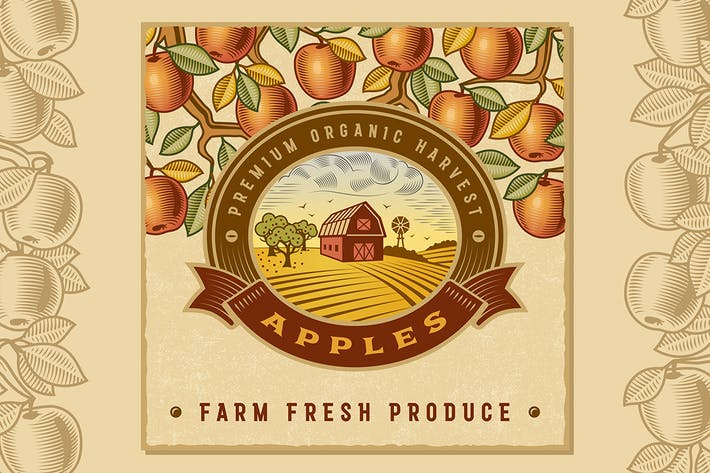 Thumbnail for Vintage Colorful Apple Harvest Label