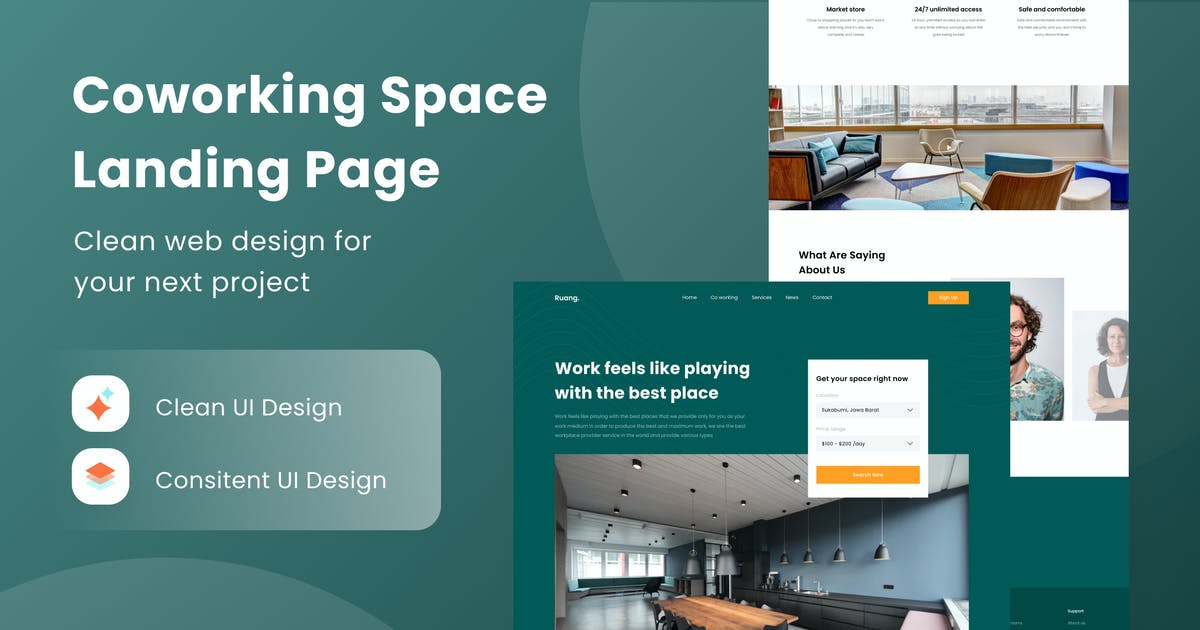 Download Coworking Space Landing Page by DimoGraphic