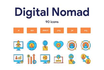 Digitales Nomaden-Icon Set