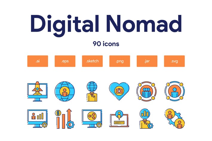 Digitales Nomaden-Icon Set