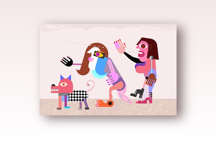 Thumbnail for Two women and a dog farewell someone