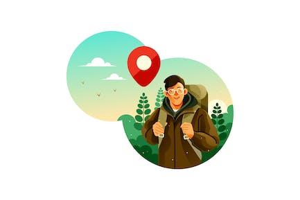 Hombre con mochila de camping hace un viaje al bosque
