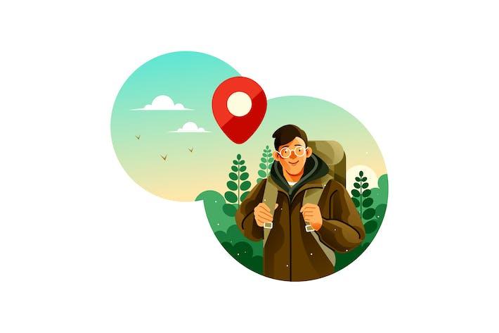Homme avec sac à dos de camping fait un voyage à la forêt