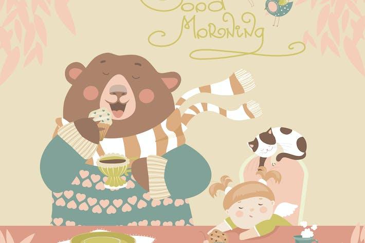 Thumbnail for Girl drinking tea with a cute bear. Vector
