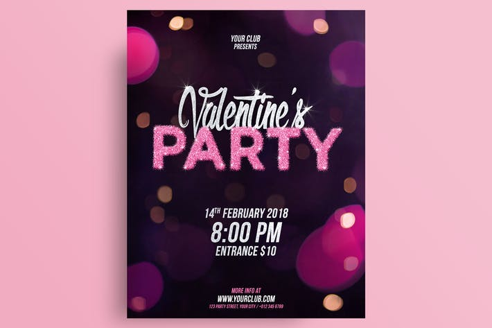 Thumbnail for Valentine's Day Party Flyer Template