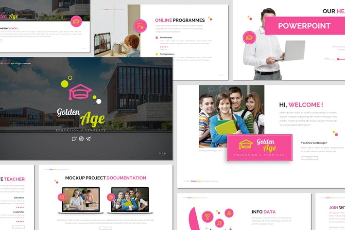 Thumbnail for Golden Age - Education Powerpoint Template