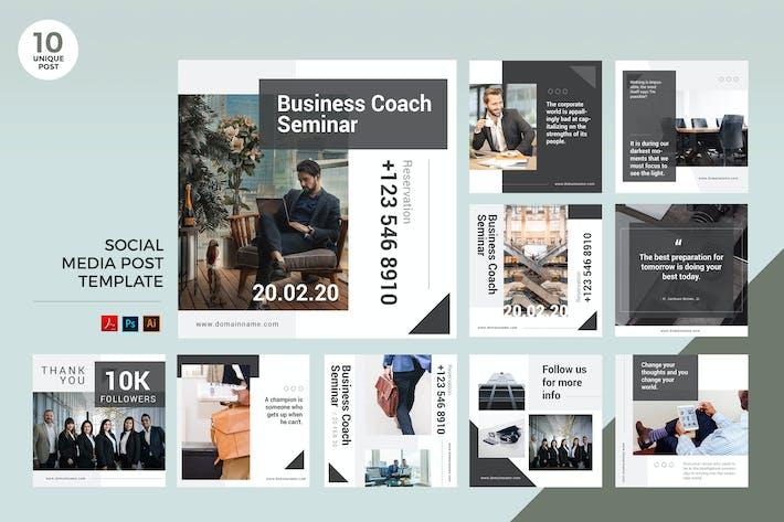 Thumbnail for Business Coach Séminaire Social Media Kit PSD & AI