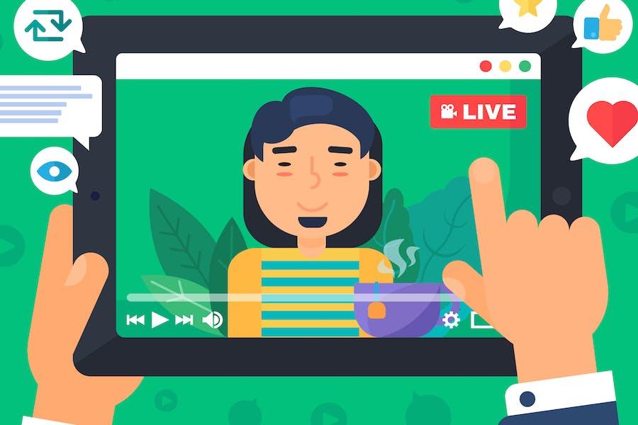 Asian Male Web Streamer Illustration
