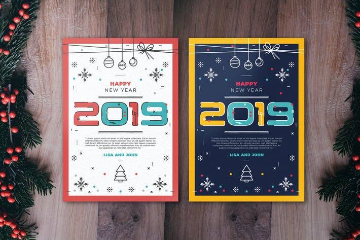 Cover Image For Minimal New Year Flyer Template