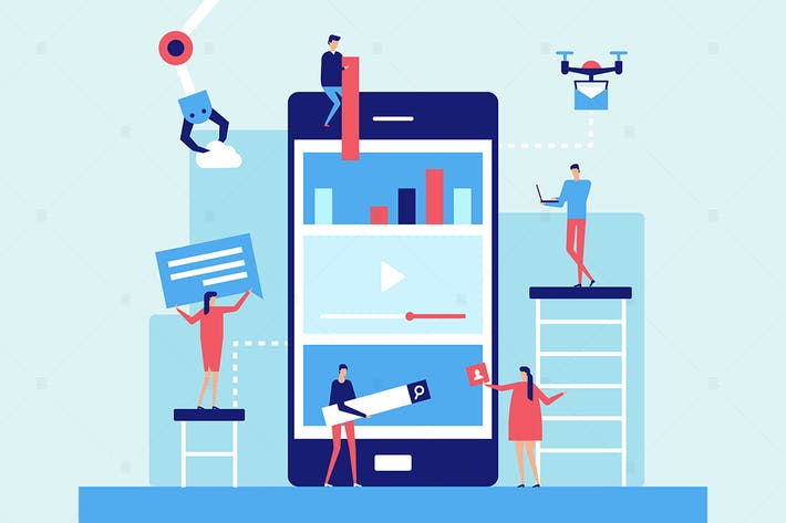 Thumbnail for Mobile app development - flat design illustration