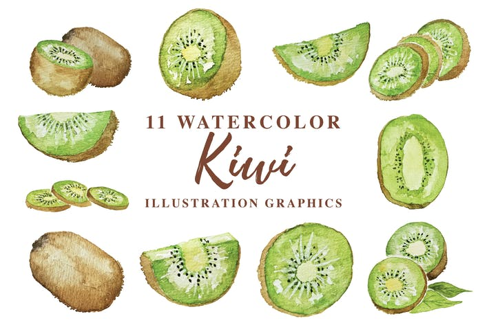 Thumbnail for 11 Watercolor Kiwi Illustration Graphics