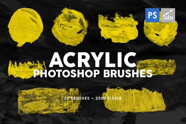 Thumbnail for 26 Acrylic Shapes Photoshop Stamp Brushes