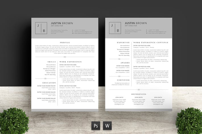 Thumbnail for Simple Resume Template Justin Brown