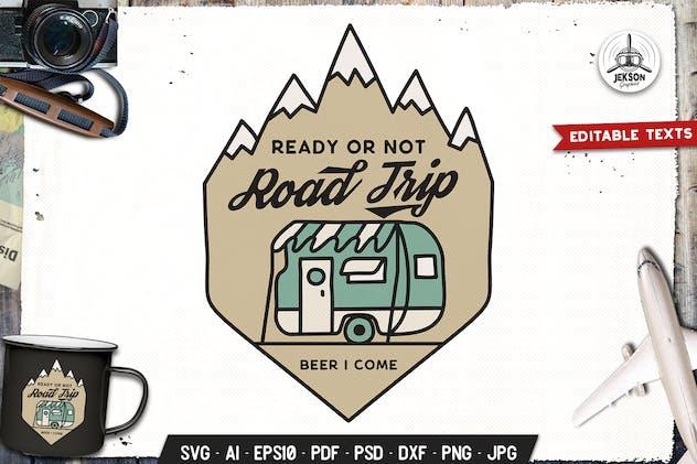 Road Trip Camp Badge Vector Retro Graphic Logo
